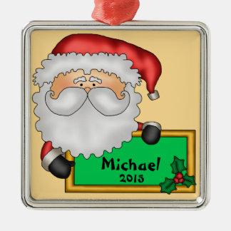 Weihnachtsmann-Mitteilung personalisiert Silbernes Ornament