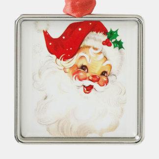 Weihnachtsmann, Quadratisches Silberfarbenes Ornament