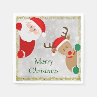 Weihnachtsmann und Ren auf Papierservietten