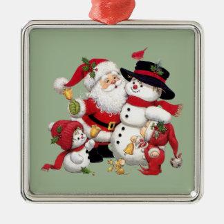 Weihnachtsmann und Schneemann Silbernes Ornament