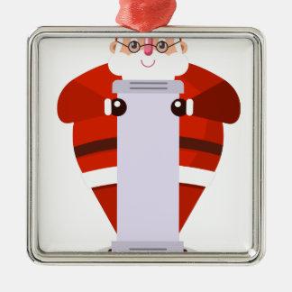 Weihnachtsmann-Weihnachten Quadratisches Silberfarbenes Ornament