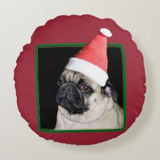 WeihnachtsMopshund Rundes Kissen