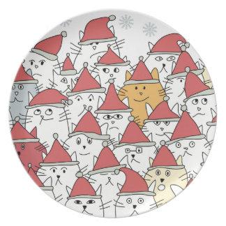 Weihnachtsmuster mit vielen lustigen Katzen Flache Teller
