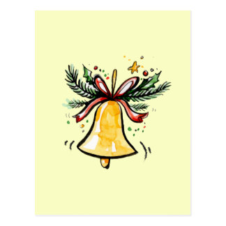 Weihnachtsneues Jahr-Geschenk-Gelb Jingle Bell Postkarte