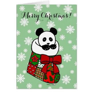 Weihnachtspanda-Cartoon-Strumpf-Schneeflocke Karte