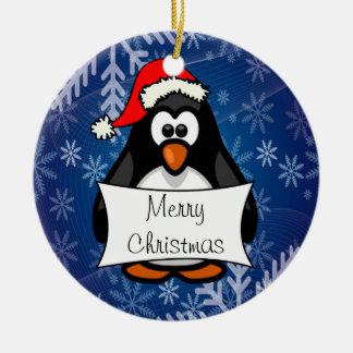 WeihnachtsPinguin Rundes Keramik Ornament