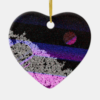 Weihnachtsplaneten Keramik Herz-Ornament