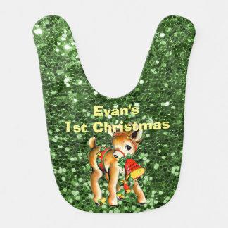 Weihnachtsren-Grün-Imitat-Glitter Babylätzchen
