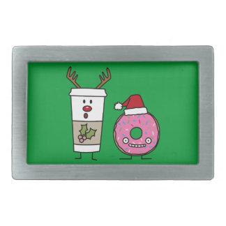 Weihnachtsren-Kaffee und Sankt-Krapfen Rechteckige Gürtelschnalle
