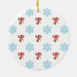 Weihnachtsren-Muster Keramik Ornament