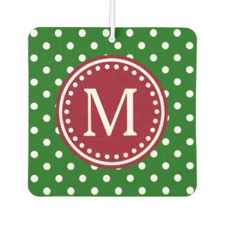 Weihnachtsrotes grünes und weißes Tupfen-Monogramm Lufterfrischer
