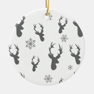 Weihnachtsrotwild- u. -schneeflockemuster - rundes keramik ornament