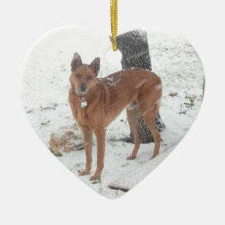 Weihnachtssammlungs-Haustier oder Familien-Foto Keramik Herz-Ornament