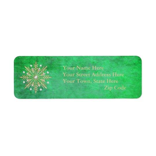 Weihnachtsschneeflocke-Grün u. Gold Kleiner Adressaufkleber