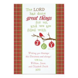 WeihnachtsSchrifts-Vers Karte-Gefüllt mit Freude 12,7 X 17,8 Cm Einladungskarte