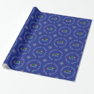 WeihnachtsSchwimmerblau Geschenkpapier