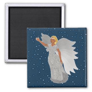 Weihnachtssilberner Engel Quadratischer Magnet