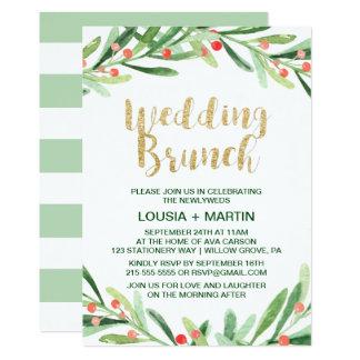 Weihnachtsstechpalmen-Kranz-Hochzeits-Brunch 12,7 X 17,8 Cm Einladungskarte