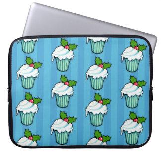 Weihnachtsstechpalmen-Kuchen-blaue Laptop-Hülse Laptop Sleeve