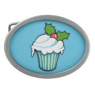 Weihnachtsstechpalmen-Kuchen-blaue ovale Ovale Gürtelschnallen
