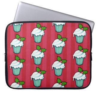 Weihnachtsstechpalmen-Kuchen-rote Laptop-Hülse Laptopschutzhülle