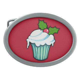 Weihnachtsstechpalmen-Kuchen-rote ovale Ovale Gürtelschnallen