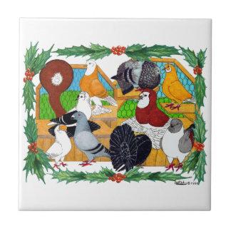 Weihnachtstauben Kleine Quadratische Fliese