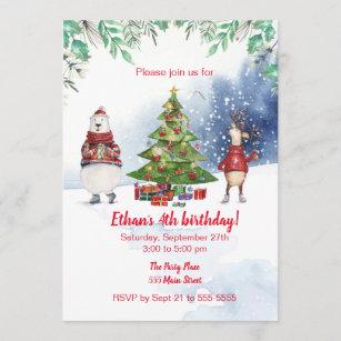 Weihnachtstiere Kindergeburtstag Party Einladung