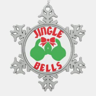 "WeihnachtsTrainings-Motivations-Klingel ""Kessel Schneeflocken Zinn-Ornament"