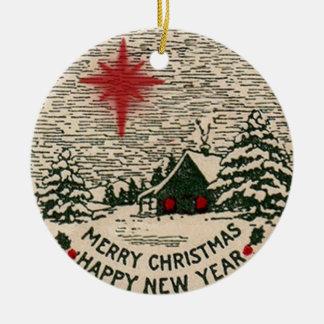 Weihnachtsverzierung, Vintages WeihnachtsSiegel Keramik Ornament