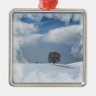 Weihnachtsverzierungs-Winter-Einsamkeit Silbernes Ornament