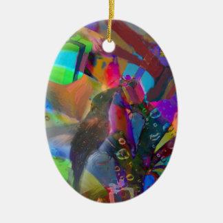 Weihnachtsvogel holt Geschenke Keramik Ornament