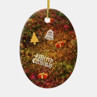 Weihnachtswald Ovales Keramik Ornament