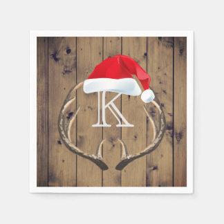 WeihnachtsWeihnachtsmannmütze-Ren-Geweih-Monogramm Serviette