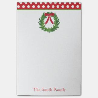 Weihnachtswreath-Feiertag personalisiert Post-it Klebezettel