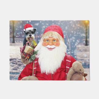 WeihnachtsZwergschnauzer-Hund Weihnachtsmanns w Türmatte