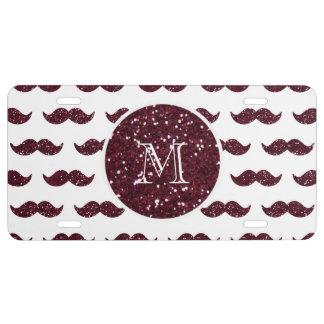 Wein-Glitter-Schnurrbart-Muster Ihr Monogramm US Nummernschild