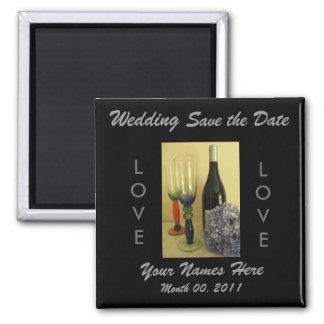 Wein-Thema-Hochzeits-Magnet Quadratischer Magnet