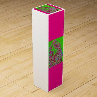 Weinschachtel ZenZia Hund pink/grün Wein-Geschenkverpackung