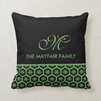 Weises Grün-Familien-Monogramm-Blumenmuster Kissen