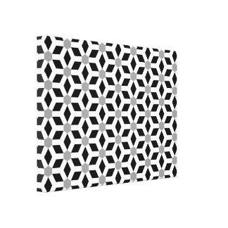 Weiß auf schwarzer mit Ziegeln gedeckter Leinwand Drucke