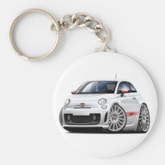 Weiß-Auto Fiats 500 Abarth Schlüsselanhänger
