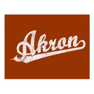 Weiß beunruhigtes Akron-Skript-Logo Postkarte