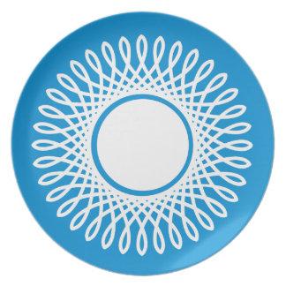 Weiß gesprengt auf Sommer-Blau Melaminteller