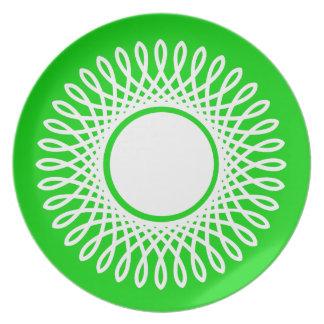 Weiß gesprengt auf Sommer-Grün Teller