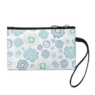 Weiß u. Aqua-Designer-Blumenhandgelenk-Tasche!