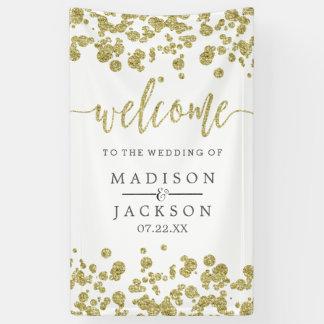 Weiß u. Goldconfetti-Hochzeits-Willkommen Banner