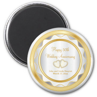 Weiß u. GoldZickzack 50. Hochzeits-Jahrestag Runder Magnet 5,7 Cm