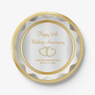Weiß u. Hochzeitstag des Gold50. Pappteller 17,8 Cm