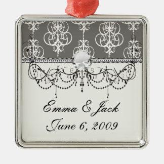 Weiß und graues Strudeleleganzdamastmuster Silbernes Ornament